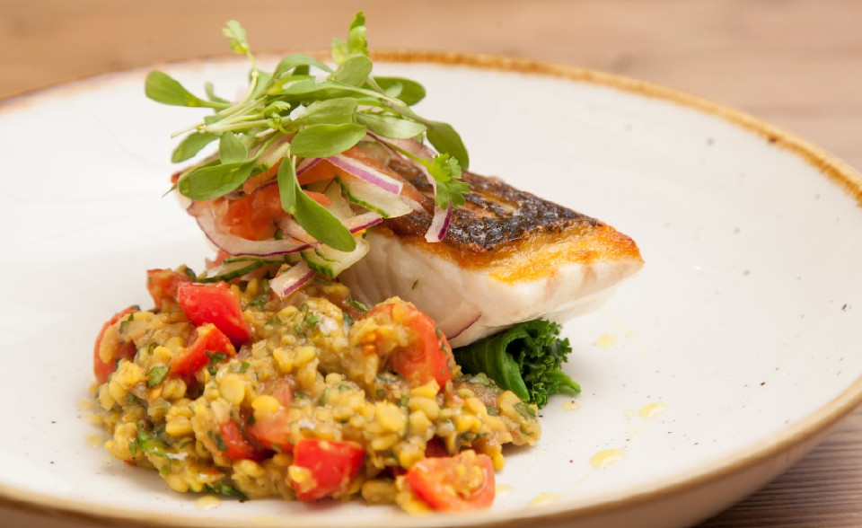 Cornish Sea Bass, Tarka Dhal and Coriander Salad