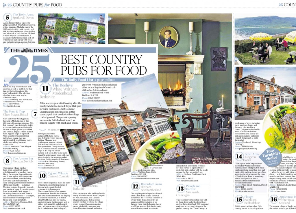 Chapman and Beehive listed by Times as one of the Best Country Pub